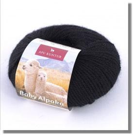 50g Baby Alpakawolle in Schwarz