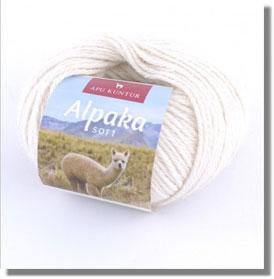 50g Alpakawolle Soft in Weiss Naturfarbe