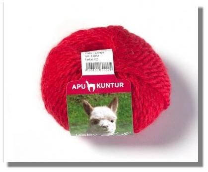 50g Baby Alpakawolle Nadelstärke 8 Rot