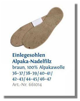 EINLEGESOHLEN AUS ALPAKA-NADELFILZ