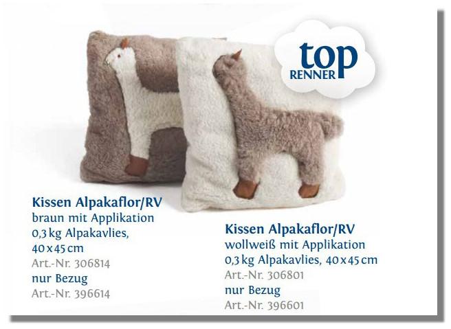 ALPAKA KISSEN ALPAKAFLOR mit Alpaka Applikation
