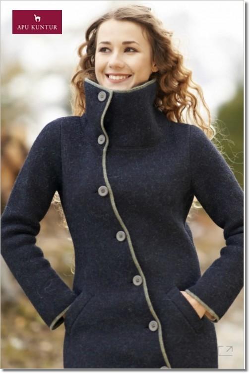 Damen Mantel ASI gewalkt aus Alpaka-Wolle mit Umlege-Kragen dunkelblau