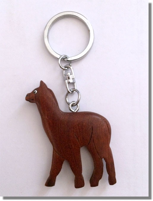 Alpaka Lama Schlüsselanhänger aus Holz