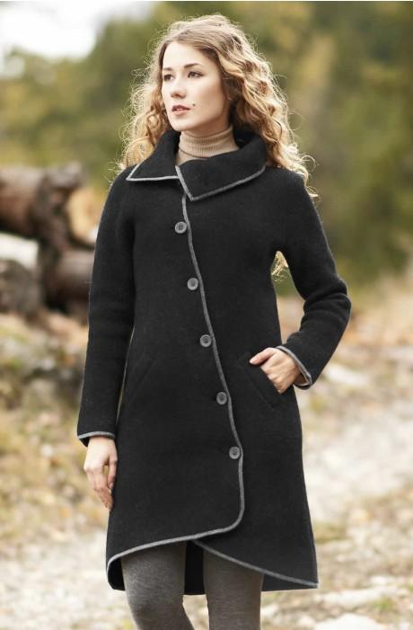 Damen Mantel ASI gewalkt aus Alpaka-Wolle mit Umlege-Kragen Türkis