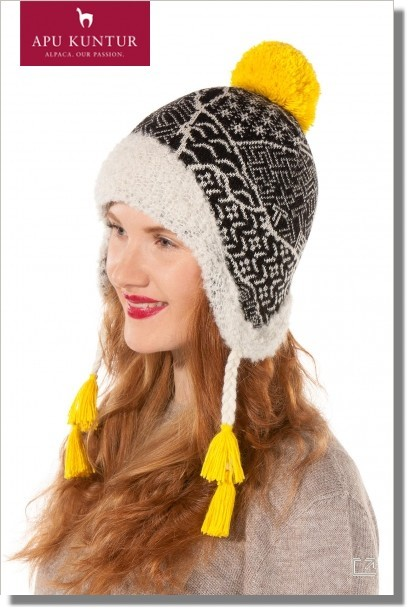 Damen Mütze SOL Bouclé-Strick Jaquard-Muster Bommel-Haube