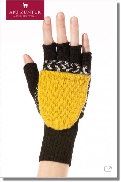 Damen Känguru Handschuh SOL Alpaka Halbfingerhandschuh mit Klappe Jacquardstrick