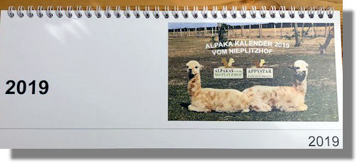 Alpaka Tischkalender 2018 - Versand kostenfrei