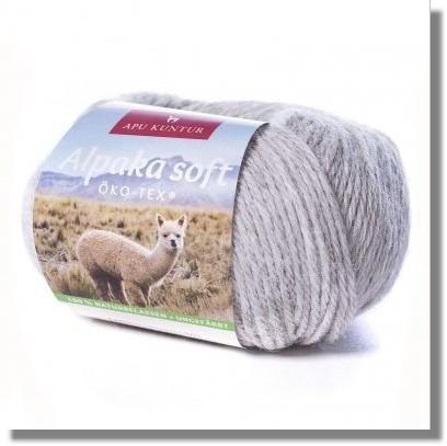 50g Alpakawolle Soft in Hellgrau - Naturton - ungefärbt