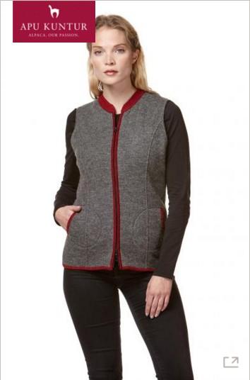 Trachten-Weste FIONA Alpaka Wolle gewalkt Damen Zip-Verschluss