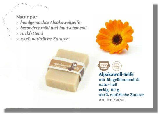 Alpakawoll-Seife mit Ringelblumen Duft