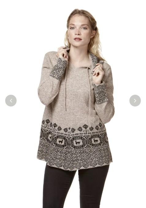 Kapuzen-Pullover DIVINO naturfarben reines Alpaka Damen
