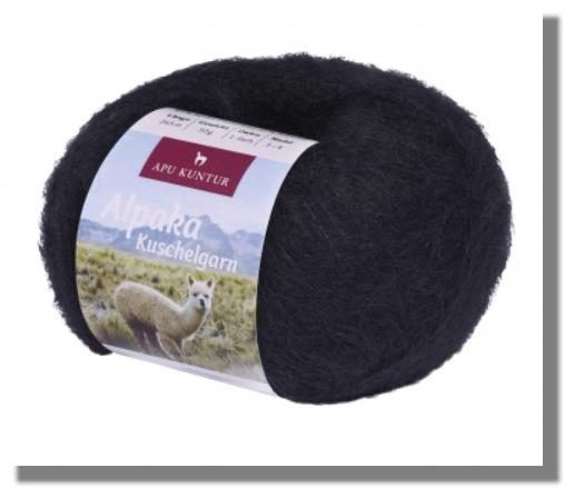 Alpaka Wolle Schwarz 50g Kuschelgarn