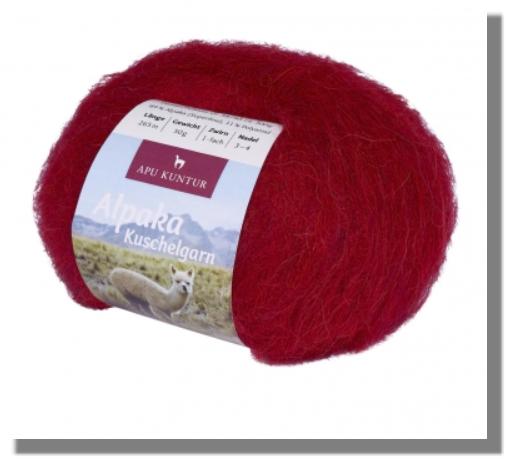 Alpaka Wolle Rot-Meliert 50g Kuschelgarn