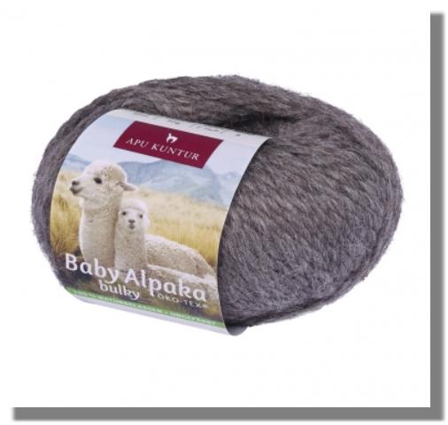 50g Baby Alpakawolle ungefärbt Nadelstärke 8 Dunkelgrau