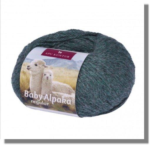 Grüngrau Melange 50g Baby Alpakawolle