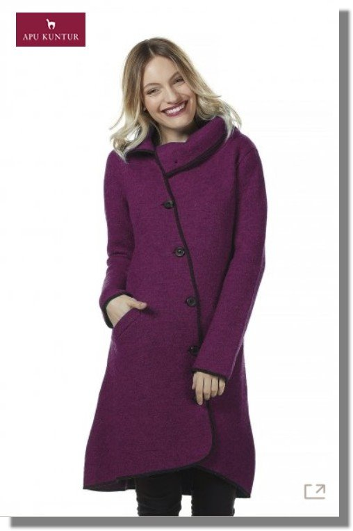 Mantel Damen ASI gewalkt aus Alpaka-Wolle mit Umlege-Kragen asymetrisch Brombeer