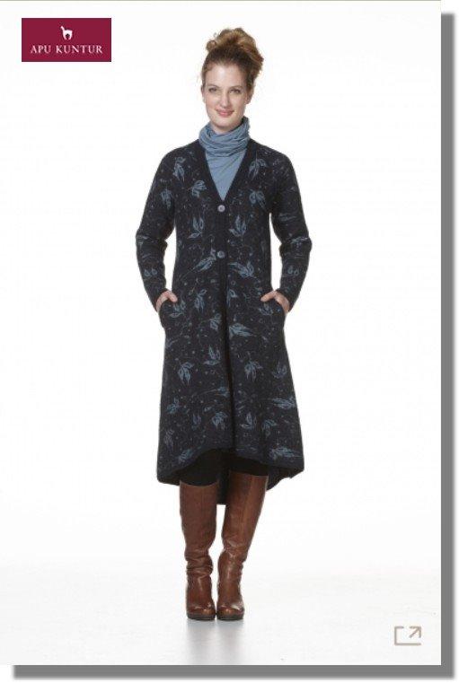 Damen Strick-Mantel PRINZESSA Alpaka Wolle gewalkt gemustert