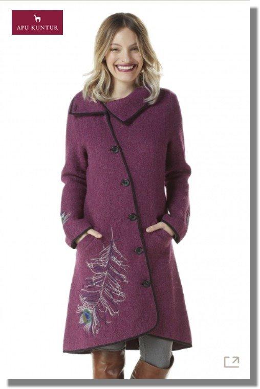 Walk-Mantel ASI ROYAL Damen gewalkt Alpaka Wolle asymmetrisch Knöpfe