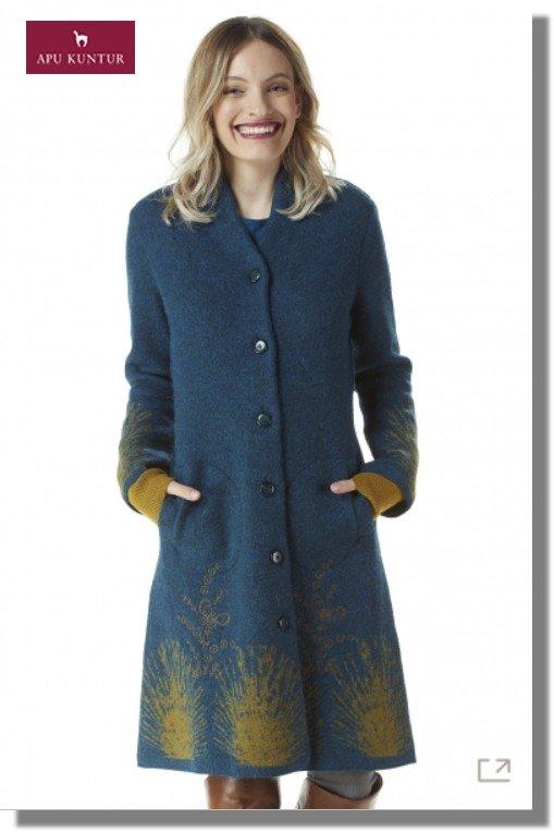Walk-Mantel GOLDIE Damen Alpaka Wolle gefilzt Strick gemustert