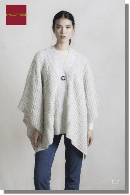 Strick-Poncho RING Alpaka Wolle Damen Struktur-Strick geknöpft