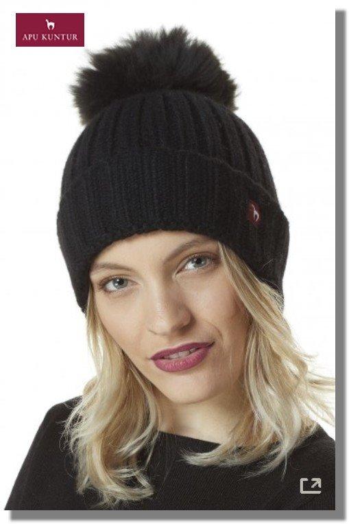 Bommel-Mütze BIANCA unifarben reines Baby Alpaka