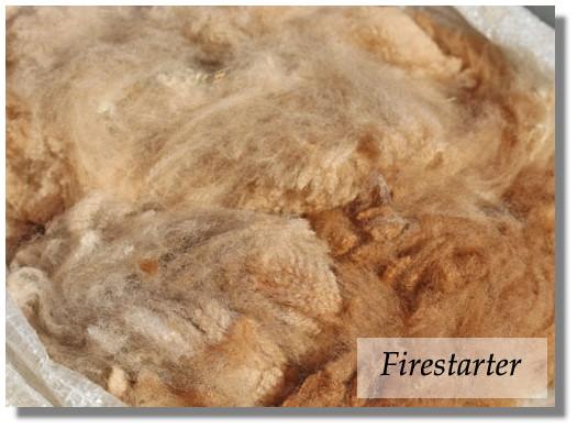 1,7kg Alpaka Rohwolle Firestarter