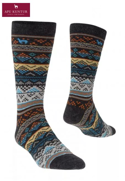 Strick-Socke Premium JACQUARD Baby Alpaka Pima blau-apricot Baumwolle Damen Herren