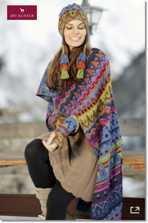 Schal KUYCHI Stola aus Baby Alpaka Jacquard Strick peruanisches Design