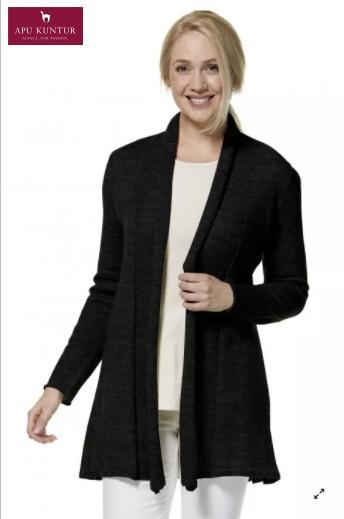 Long-Strickjacke PENELOPE Schwarz mit Schalkragen aus Baby Alpaka für Damen