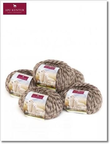 Braungrau Melange 50g Baby Alpakawolle
