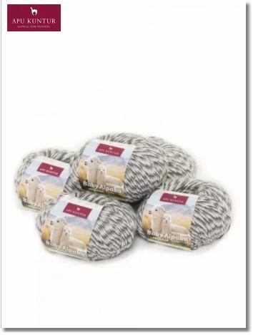 Grau Melange 50g Baby Alpakawolle