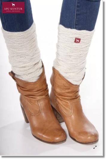 Damen Beinstulpen BIESEN Baby-Alpaka Gelenkwärmer - wollweiss