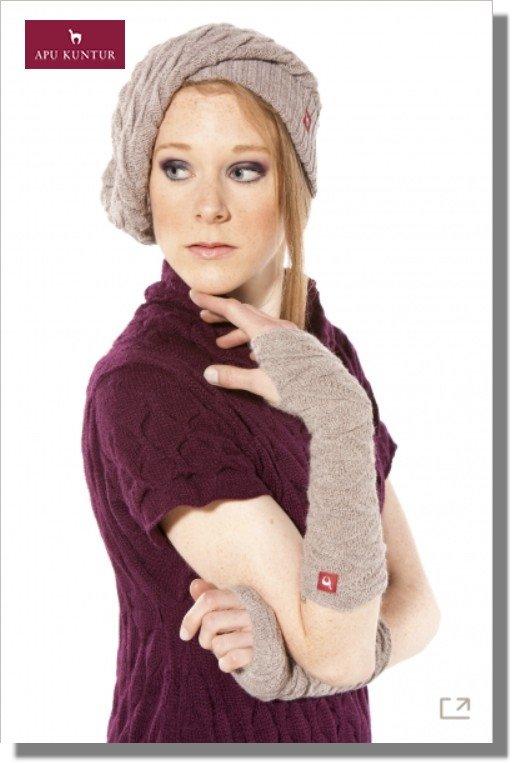 Damen Pulswärmer BIESEN Baby Alpaka Arm-Stulpe Gelenkwärmer von APU KUNTUR - sand