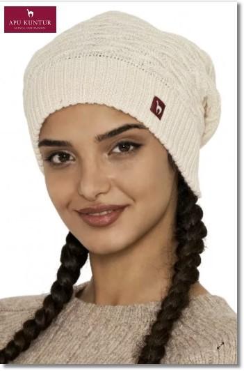 Strick-Beret BIESEN Basken-Mütze aus reinem Alpaka Damen - wollweiss