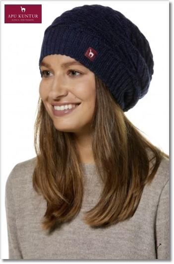 Strick-Beret BIESEN Basken-Mütze aus reinem Alpaka Damen - blaumeliert