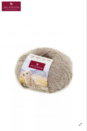 50g Baby Alpakawolle ungefärbt Nadelstärke 8 Sand
