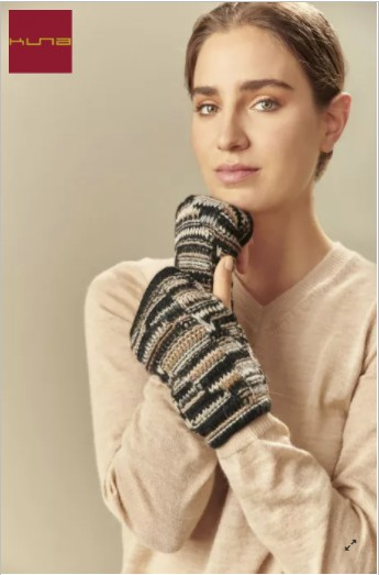 Pulswärmer fingerlose Handschuhe UCRANIA aus Baby Alpaka - XXC0006